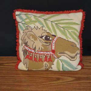 VTG needlepoint camel toss pillow Tibetan bells